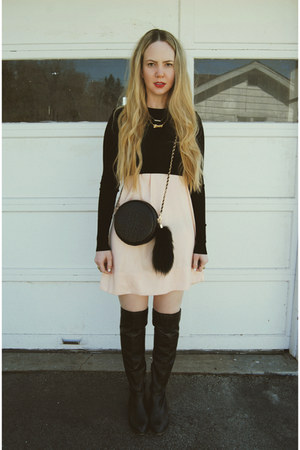 black Nasty Gal bag - black shoemint boots - light pink Sheinside dress