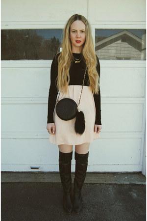 black Nasty Gal bag - black shoemint boots - light pink Sheinside dress