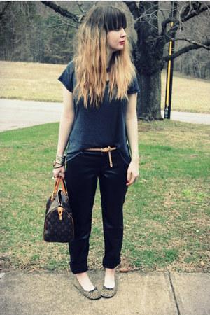 gray Society of Les shirt - dark brown speedy 30 Louis Vuitton bag - black leath