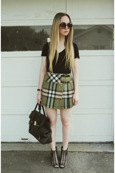 olive green Dunedin skirt - black 31 Phillip Lim bag - black Steve Madden wedges