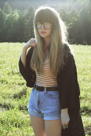 black sam edelman boots - blue cut-offs Levis shorts - black Nasty Gal glasses -