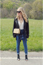 Navy-urban-outfitters-jeans-black-lucky-brand-jacket-camel-chanel-bag