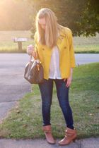 gold New York & Co jacket - blue hollister jeans - white H&M blouse - brown Urba