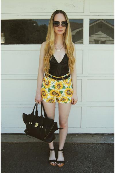 black 31 Phillip Lim bag - yellow 6ks shorts - black Missguided bodysuit
