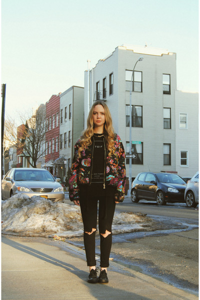 black Urban Outfitters jeans - black Koshka jacket - black Converse sneakers