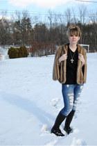tan vintage coat - black Forever 21 boots - olive green Forever 21 scarf