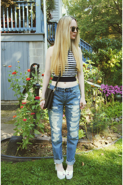 white Jeffrey Campbell shoes - sky blue Lulus jeans - navy Forever 21 shirt