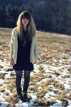 black sam edelman boots - navy Bella Clothing dress - cream vintage sweater