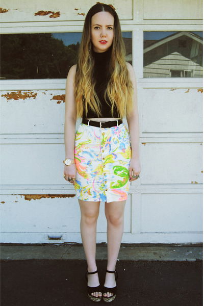 white gifted OASAP skirt - black American Apparel shirt