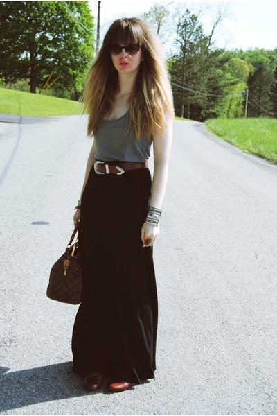 dark brown Steve Madden shoes - black worn as skirt Old Navy dress - gray Foreve