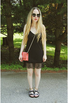 black lulus dress - black Steve Madden sandals
