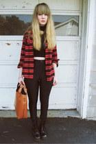 brick red thrifted shirt - black American Apparel shirt