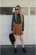 tawny asos skirt - navy asos boots - black new look sweater