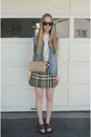 olive green Duned In skirt - sky blue vamped boutique jacket - camel Chanel bag