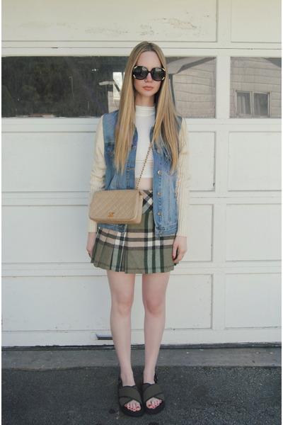 olive green Duned In skirt - sky blue vamped boutique jacket - camel Chanel bag