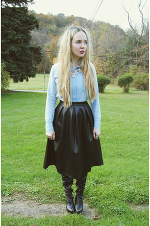 black Forever 21 boots - light blue thrifted shirt - black Boohoo skirt