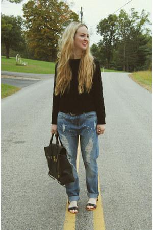 black Sheinside sweater - sky blue gypsy warrior jeans