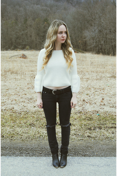white Koshka sweater - black Urban Outfitters boots - black Dbrand jeans