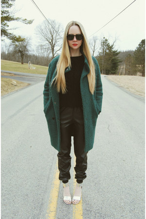 black Sheinside sweater - forest green Sheinside coat - black zeroUV sunglasses