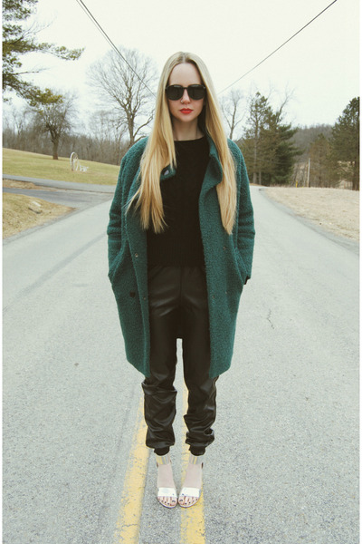 black Sheinside sweater - forest green Sheinside coat - black zeroUV sunglasses