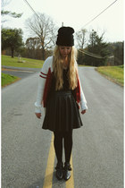 black Choies boots - red Koshka sweater - black Forever 21 skirt
