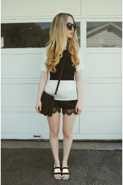 white Kill City shirt - black Missguided shirt - black French Connection bag