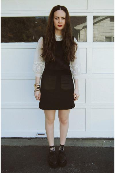 black gifted OASAP shoes - black gifted She Inside dress - ivory vintage blouse