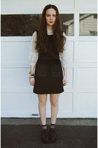 black gifted OASAP shoes - black gifted She Inside dress - ivory vintage blouse