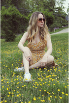 mustard Urban Outfitters dress - white Converse shoes