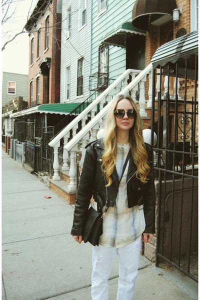 white own the runway jeans - black vintage jacket