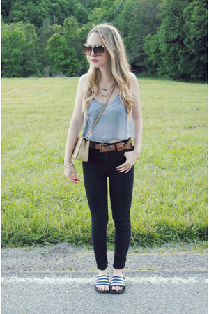 black Kill City jeans - periwinkle Urban Outfitters shirt - camel Chanel bag