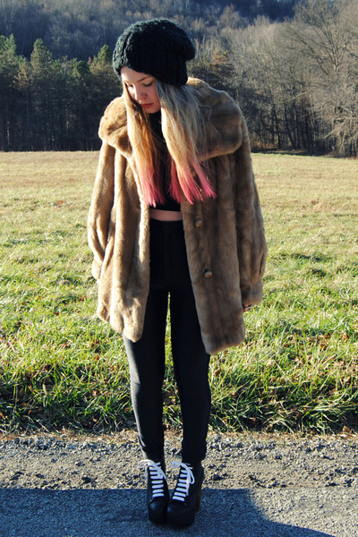 tan faux fur vintage coat - black Jeffrey Campbell shoes - black H&M hat