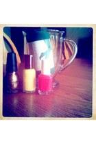 green tights - light yellow nail polish accessories - hot pink nail polish acces