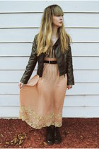 light pink Forever 21 skirt - black doc martens boots