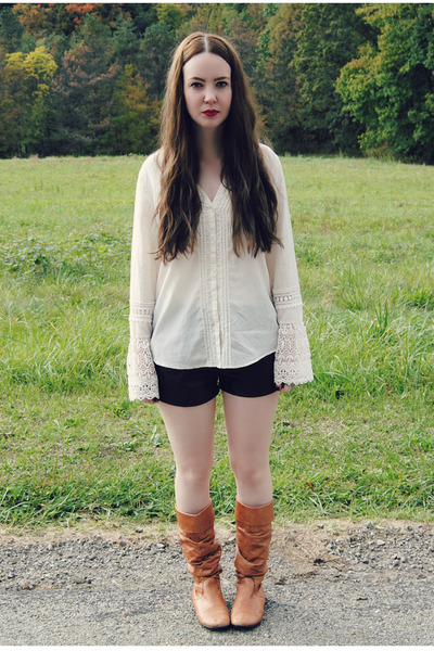 tawny Steve Madden boots - ivory gifted Lucky Brand shirt