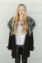 black Boohoo coat - white Eleven Paris t-shirt - black GoodNight Macaroon pants