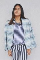 pull&bear blouse - Nordstrom blazer - striped pull&bear pants