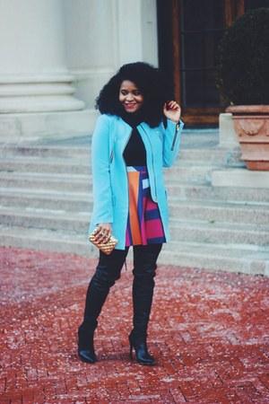 Zara skirt - Shoedazzle boots - romwe coat