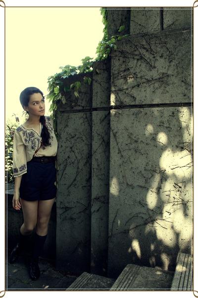 white Forever 21 shirt - blue Forever 21 shorts - brown vintage belt - black Vin