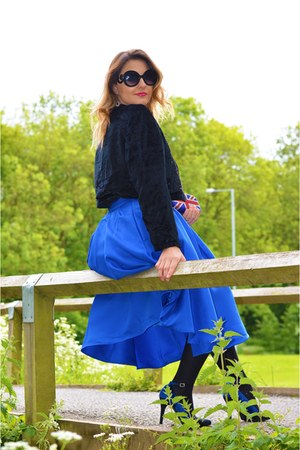 blue Sheinside skirt - TK Maxx purse - black River Island sunglasses