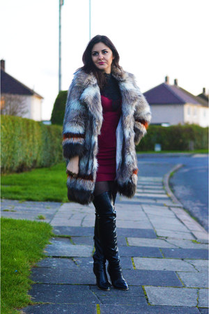 River Island coat - black River Island boots - ruby red TK Maxx dress