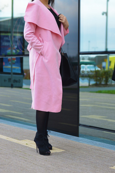 bubble gum Sheinside coat - black Zara bag - black Boohoo sandals