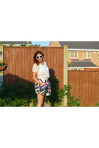 gold Sheinside bag - white Primark sunglasses - Choies skirt