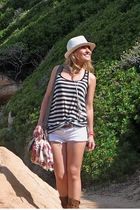Topshop hat - Topshop shorts - H&M top