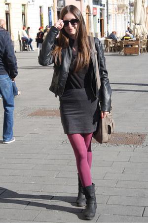 black random boots - black Zara jacket - magenta random leggings