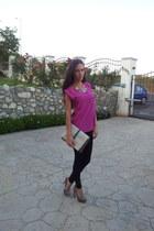 black Zara leggings - Zara bag - fuchsia Zara top - snakeskin Zara pumps