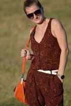 brick red Stradivarius bodysuit - carrot orange Local store bag - Mango glasses