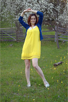 yellow raspberry dress - navy Lovelyshoes cardigan - cream miniprix flats