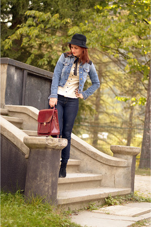 black leather Zara boots - dark gray LC Waikiki jeans - black Tally Weijl hat