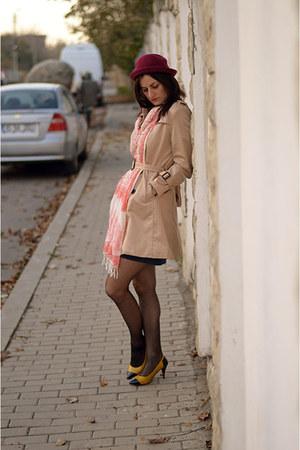 beige Lovelywholesale coat - crimson Yesfor hat - nude Stradivarius scarf